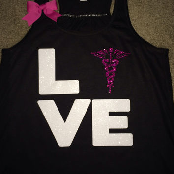 Love Nurse Tank - Nurse Symbol - Ruffles with Love - Fun Tank - LOVE Symbol Tank