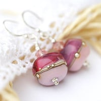 Valentines day Earrings pink lampwork glass beads on by MayaHoney