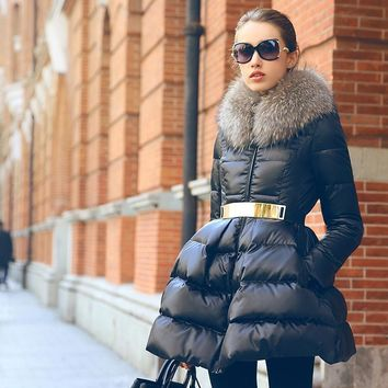 Down Peplum Puffy Coat Fur Collar