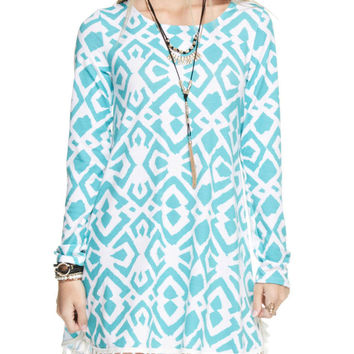 Ikat Print Tassel Shift Dress