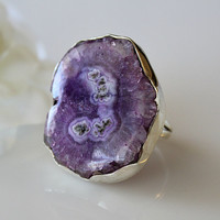 Large Purple Geode Slice Ring, 925 Sterling Silver, Cocktail ring, Statement ring,  Solar Quartz, Size 8 Ring, Geode Jewelry