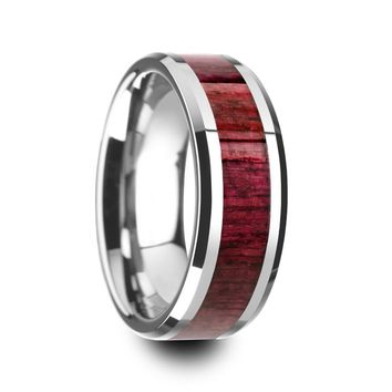 Men's Purpleheart Wood Inlaid Tungsten Wedding Band With Beveled Edges 8mm