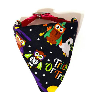 XS/S/M/L Black Cute Costume Owls Halloween Monogrammed/Personalized Slip On Dog Puppy Over Collar Bandana Neckerchief Pet Fashion Accessory