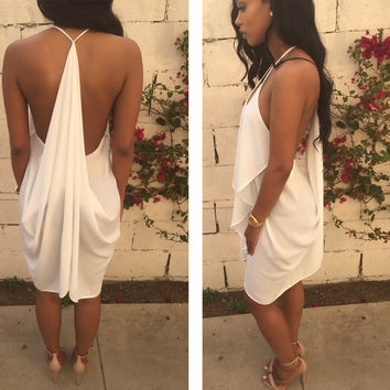 White Strappy V Neck Backless Ruffled Bodycon Midi Dress