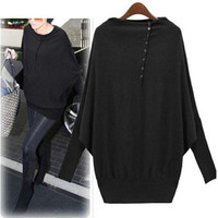 Casual Batwing Sleeve Button Sweater Plus Size