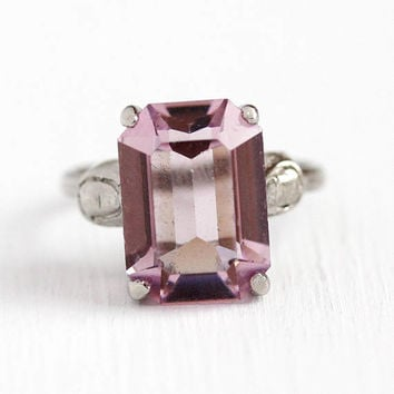 Vintage Adjustable Ring - Sterling Silver Shank Purple Pink Glass Stone Statement - 1950s Retro Emerald Cut Cocktail Dinner Ring Jewelry