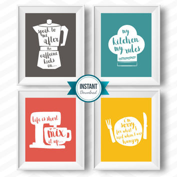 kitchen rules kitchen download retro vintage kitchen rules printable kitchen art set coffee chef hat plate knife fork mixer colourful