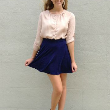 Sew Suede Skirt | Navy