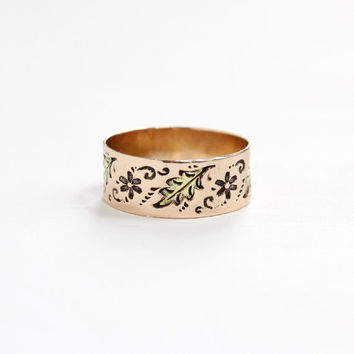 Antique Victorian 10k Rose & Yellow Gold Flower and Leaf Ring - Size 8 1/2 Vintage Late 1800s Thick Cigar Style Fine Wedding Band Jewelry