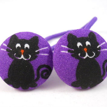 Ponytail Holders Kids Hair Accessories Black Cats on Purple