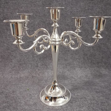 Free shiping Silver color metal candle holder 5-arms candle stand 27cm tall wedding event candelabra candle stick