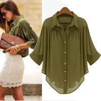 RESTOCKED. CHIFFON ARMY GREEN BLOUSE
