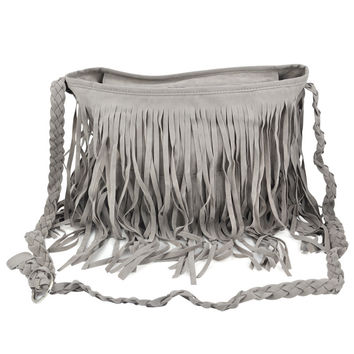 TEXU Boho Fringed Tassel Suede Shoulder Messenger Hand bags Purses - Grey