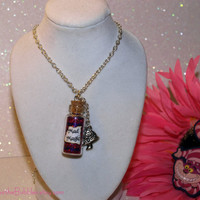 Cheshire Cat Mad Magic Necklace with a Mushroom Charm Alice in Wonderland Disney by Life is the Bubbles