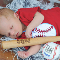 Personalized Baseball Bat Birth Announcement Baby Boys Gift Engraved Baseball Custom Baseball Sports Nursery Typography Monogrammed Baseball