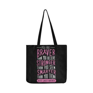 Braver Stronger Smarter V2 Breast Cancer Awareness Pink Ribbon Reusable/Water Resistant Shopping Bags (8 colors)