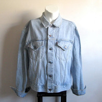 Levi Strauss Vintage 1980s Light Stone Wash Grunge Denim Jean Jacket 2XL