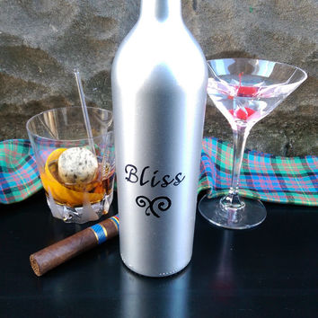Painted Wine Bottle / Decanter / Wedding Gift / Personalizable / Home & Bar Decor / Wine Bottles / Great Gifts - You need a shot of BLISS!