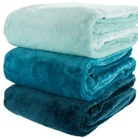 "Blankets Berkshire Set of 3 Velvet Soft 50""x70"" Gradient Color Throws"