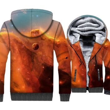 Space Galaxy 3D Print Hoodie Men Colorful Nebula Cap Sweatshirt Harajuku Coat Winter Thick Fleece Zip up Universe Stars Jacket