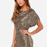 Gold Short Sleeve Split Back Glitzy Sequined Dress