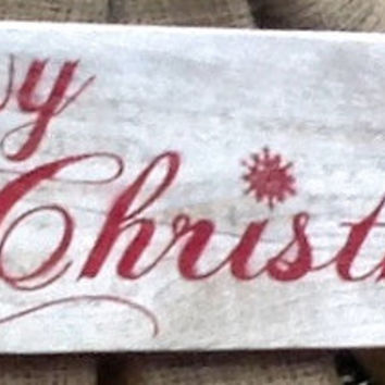 Rustic Merry Christmas Whitewashed  Sign With Snowflakes Made From Repurposed Pallet Wood Shabby Chic Wall Decor