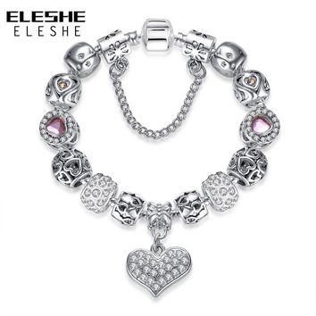 Valentine's Day Gift 925 Unique Silver Jewelry Heart Charms Bracelet For Women European Crystal Beads Bracelet & Bangle Pulseras