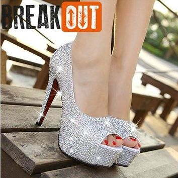 new arrival fashion women shoes rhinestone high heel wedding shoes woman crystal banquet bridal shoes height: 11CM
