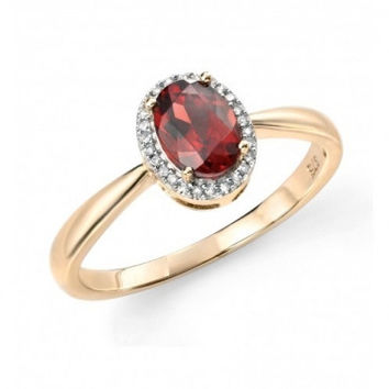 Hallmarked 9ct Yellow Gold, Diamond and Garnet Cluster Ring