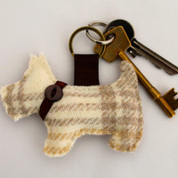 Scottie Dog Keyring in Tweed - Pink, Purple, Blue, Green or Cream