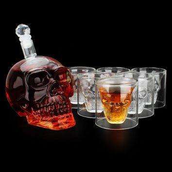 Crystal Skull Decanter & Glasses Set