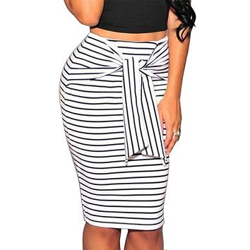 Striped Bow Pencil Skirts