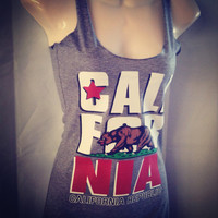 New Style CALIFORNIA State Bear Triblend Racerback Tank Top S-XL