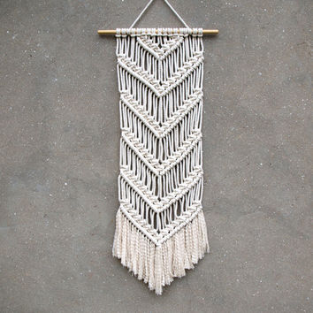 Hand made wall hanging Macrame tapestry White wall decor Macrame wall art Medium size Living room decor Entryway accents Birthday gift aunt