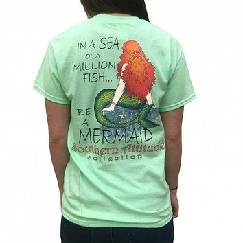 Southern Attitude Preppy Be A Mermaid Mint T-Shirt