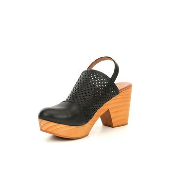 Free People Logan Black Leather Clogs