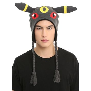 Licensed cool Pokemon Go Umbreon Cosplay Peruvian Laplander Beanie Knit Hat Ears w/ Tassles