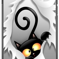 GrabYourDesign - Case for Iphone 7/7S Black Cat Fun and Naughty - by BluedarkArt