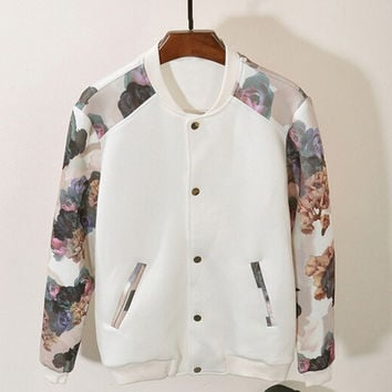Women Fashion Casual Printed Baseball Uniform Sport Jacket = 1782390660