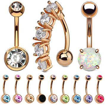 BodyJ4You 12PCS Belly Button Ring Set CZ Created-Opal Rose Goldtone Steel Navel Bar Piercing Jewelry
