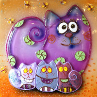 Handmade CATS FAMILY glass fusing techniques gift lovers mothers sister family amulet talisman