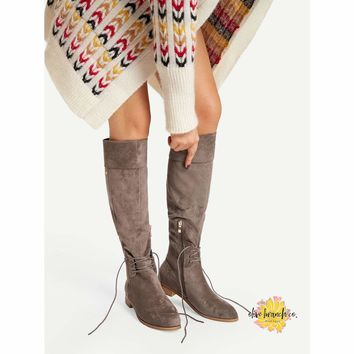 Devious Tie Down Knee High Boots