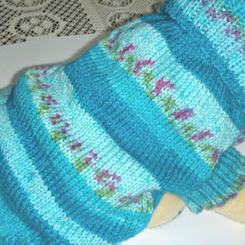 French bulldog size sweater, dog clothes, Bichon Frise, Jack Russell terrier, Westtie,  cosy collar  hand knit  in multi blues and patterns