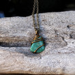 Amazonite Necklace - Wiccan Healing Stone Jewelry - Green Stone Necklace - Bohemian Jewelry - Wicca Necklace - Boho Jewelry - Stone Pendant