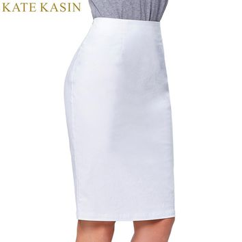 Kate Kasin Pencil Skirts Women 2017 White Black Sexy Slim Wear to Work Party Office Bodycon Bandage Skirt Faldas Midi Femme Saia