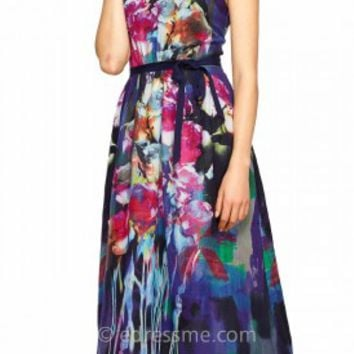 Floral Printed Silk Cocktail Dress by Kay Unger