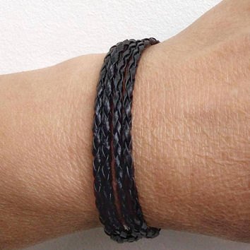 Mens Bracelet Braided Faux BRACELET Womens leather bracelet Rocker leather cuff Vegan Leather Bracelet Mens Bracelet Women Bracelet Mens