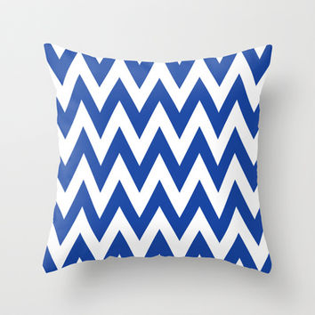 Chevron TS Blue and White Throw Pillow by Team Spirit
