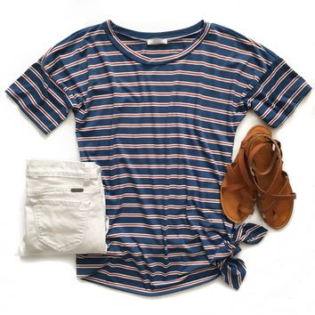 Blue and Red Striped Side Tie Top