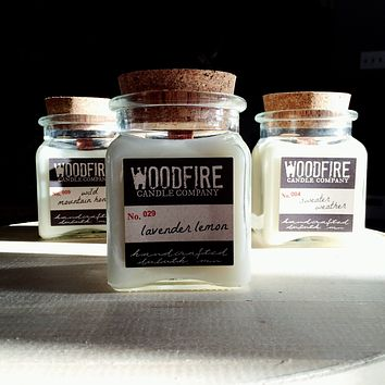 Pick 3 Apothecary Wood Wick Soy Candle